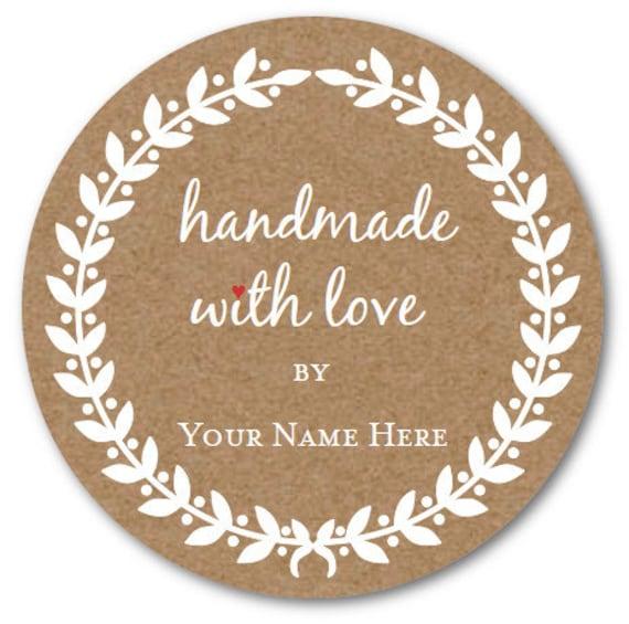 Handmade with LOVE Stickers Set Custom Circle Sticker Custom   Etsy
